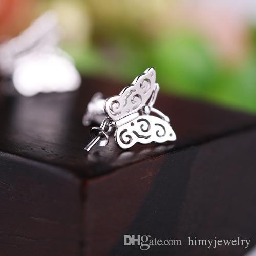 Orecchini a bottone in argento sterling 925 donna 6mm7mm8mm9mm10mm11mm12mm perla o perlina rotonda orecchini a semicerchio a forma di farfalla