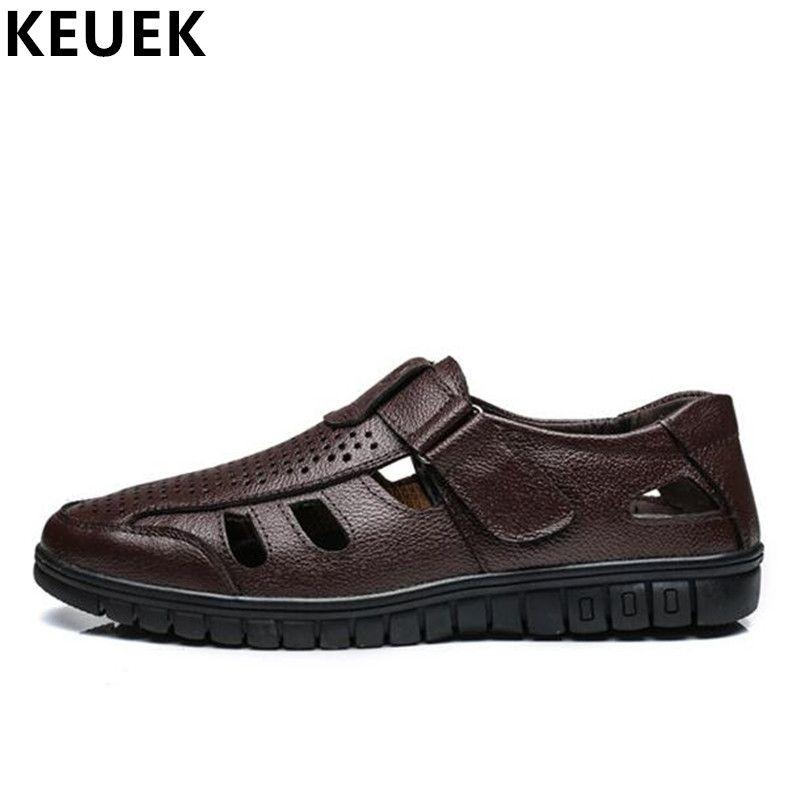 07842ec36f20 Summer Men Sandals Split Leather Cut-Outs Breathable Dress Shoes ...