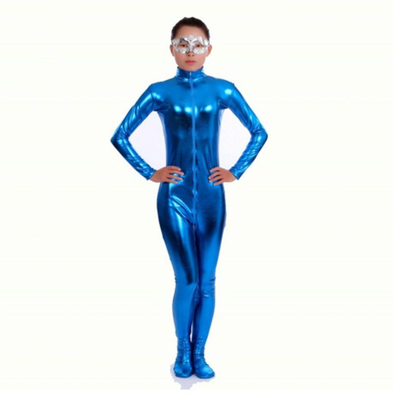 2019 Ensnovo Nylon Lycra Shiny Metallic Turtleneck Bodysuit Blue Unitard  Women Full Body Custom Skin Suit Cosplay Party Costume From Zanzibar fbbdcc998