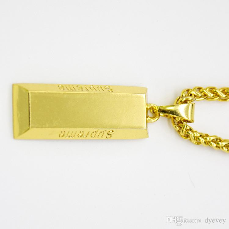 Wholesale Fashion Cube Bar Bullion Necklace 18K Gold Chain Long Pendant Hiphop Necklaces Men Jewelry Gifts