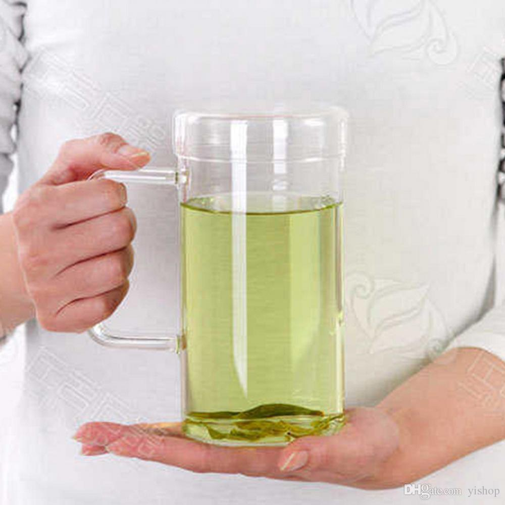 Drinkware Tea Glass Office Home Tumbler Glass Glass sin plomo Engrosado Taza resistente al calor Jugo de fruta Agua 650ML Taza MugCon cubierta