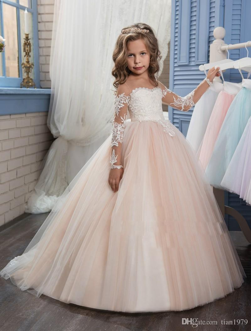 Wedding Flower Girl Dresses for Weddings Lace Long Sleeve Girls Pageant Dresses First Communion Dress Little Girls Prom Ball Gown