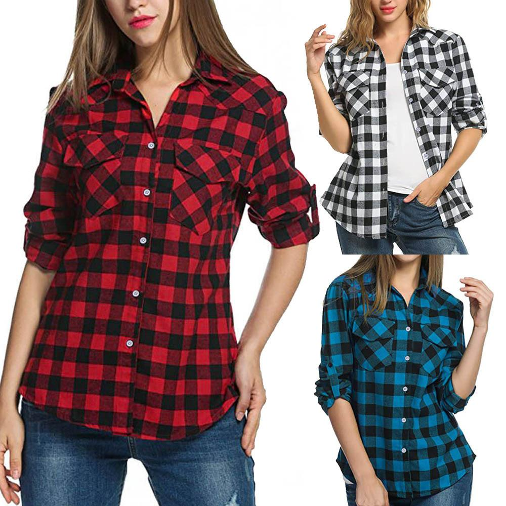 dc0ac9a08d 2019 Womens Tartan Plaid Flannel Shirts Roll Up Sleeve Casual Tops Button  Down Blouse From Redbud01, $25.36 | DHgate.Com