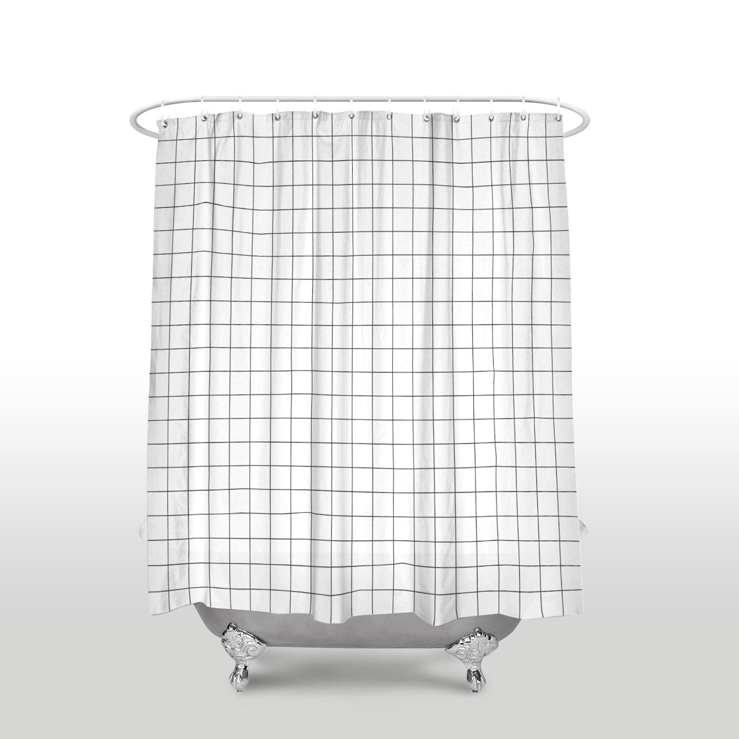 2019 New Waterproof Simple Grid Pattern Shower Curtain With Hooks Polyester Fabric Black White Plaid Bathroom Curtains For Home Decor From Waxer