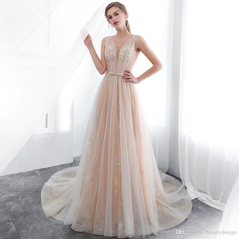 Champagne Vintage Wedding Dresses: 2019 Light Champagne Vintage Wedding Dresses Sheer Neck V