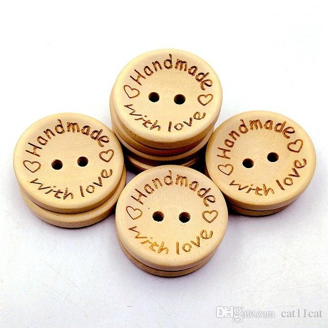 Natural Color Wooden Buttons handmade love Letter wood button craft DIY baby apparel accessories