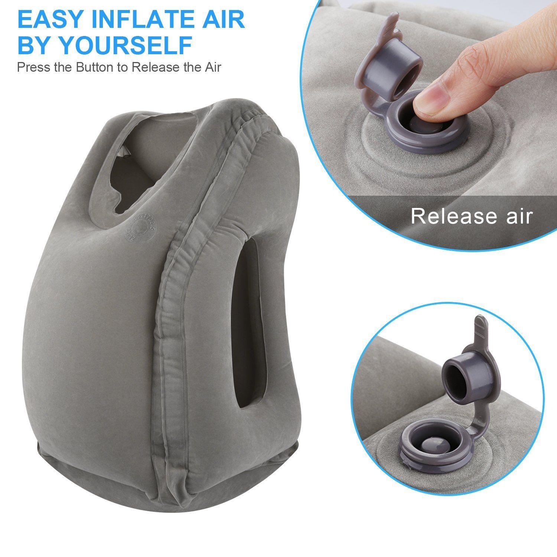Cuscino da viaggio gonfiabile grigio Cuscino da viaggio ergonomico e portatile collo, design brevettato aeroplani, auto, autobus, treni