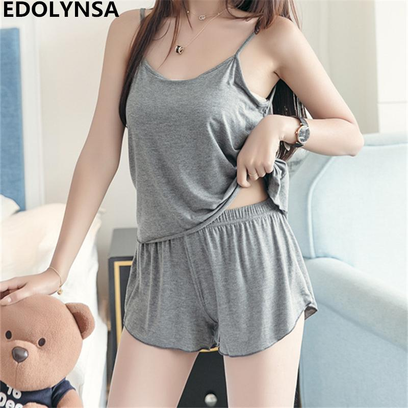 ed6f4fc1c303 2019 Cotton Short Pajama Set 2018 Summer Sexy Sleepwear Spaghetti Strap  Sleeveless Pyjama Cami Top Hot Pant Comfortable Homewear H672 From  Anzhuhua