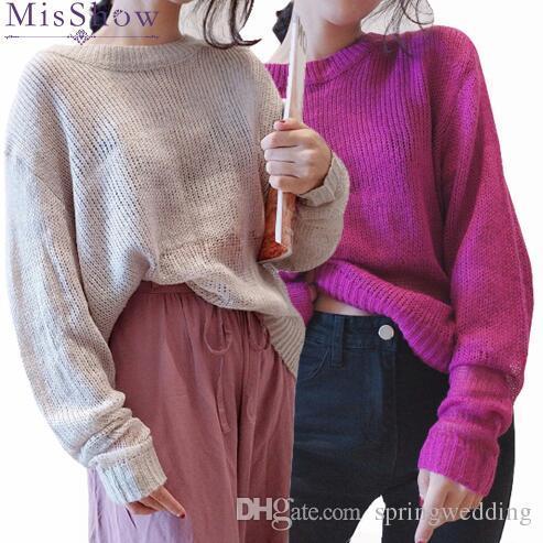 d729feab5e Maglione leggero di cashmere donne oversize manica lunga maglione lavorato  a maglia allentato scava fuori maglione mohair femminile pullover pull ...
