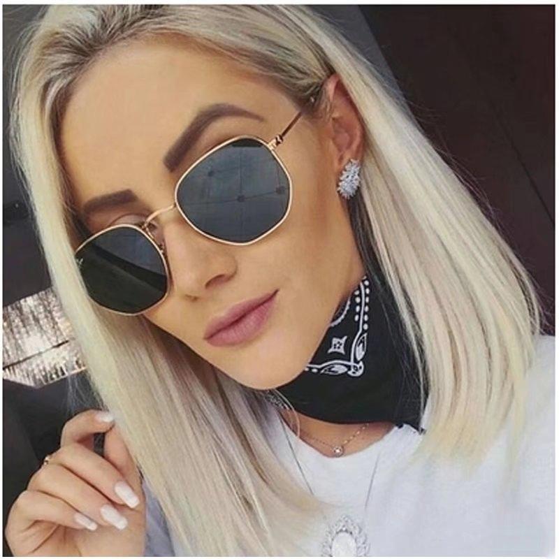 Brand designer Fashion Geometry Occhiali da sole Donna uomo uv400 Lens Round Occhiali da sole Uomo Leghe Frame Occhiali Oculos De Sol con custodia marrone