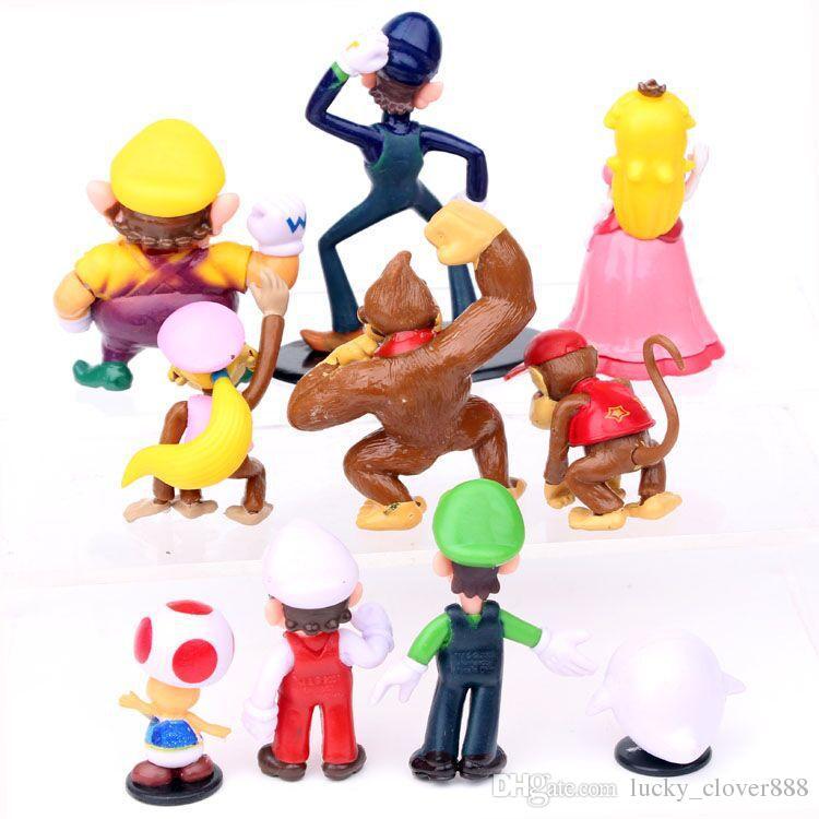 Cartoon Game Super Mario bros brothers yoshi luigi Wario peach Action figures figurines Model dolls kids Play set Toy Gift cake topper