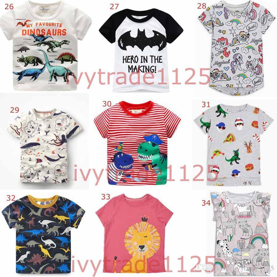 More 100 styles NEW summer Girl Boys Kids 100% Cotton Short Sleeve car print T shirt boys causal summer Girl Unicorn t shirt Free Ship