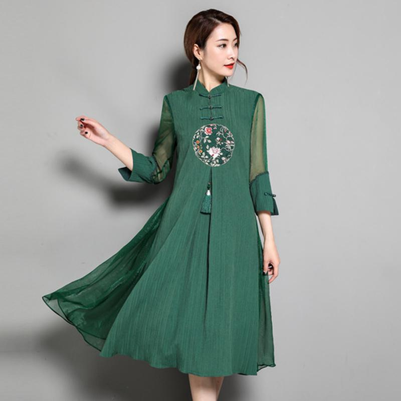 2019 Plus Size Chinese Vintage Dress Women 2018 Summer Floral ...