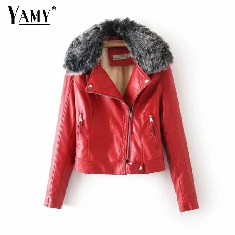 Acheter veste cuir rouge femme