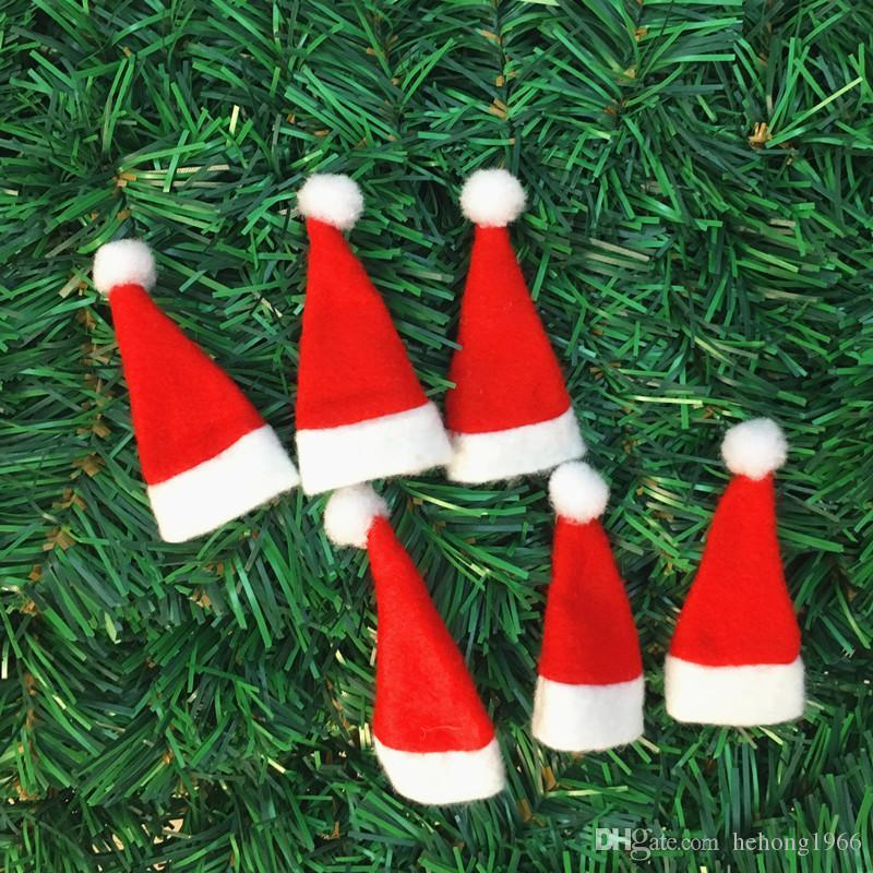Lollipop Christmas Decorations.New Lollipop Nonwoven Fabric Small Cap Red Mini Hat Santa Claus Merry Christmas Decor Festival Party Supplies Hot Sale 0 35yq Aa