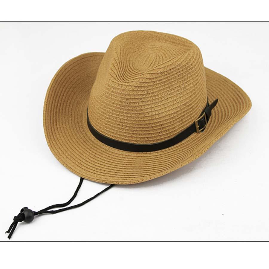 154d93c97a HOT New Unisex Western Cowboy Hat Folding Fedora Trilby Straw Hats Summer  Beach Sun Cap With String