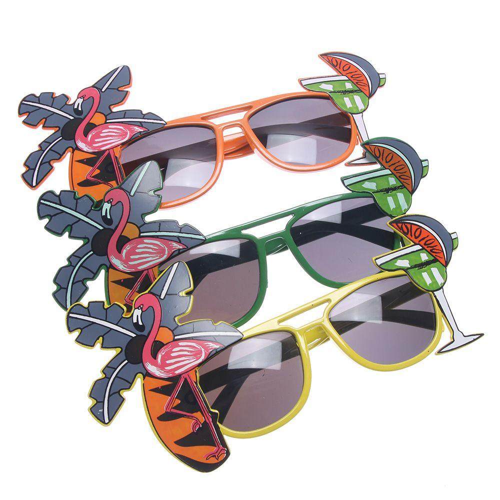 f262b1cee37 Adult Flamingo Cocktail Hawaiian Novelty Sunglasses Hen Stag Party Fancy  Dress Summer Holiday Sun Glasses