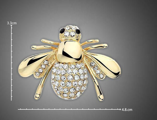 유럽 및 미국의 큰 귀여운 꿀벌 브로치 CZ 브로치 핀 칼라 카디건 드레스 여성 쥬얼리 브로치 웨딩 부케를위한