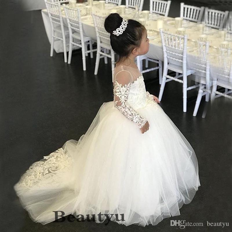 Cute Lace Princess Flower Girl Dresses For Weddings White Long Sleeve Tulle Puffy Ball Gown 2018 Cheap Baby Girls First Birthday Dress