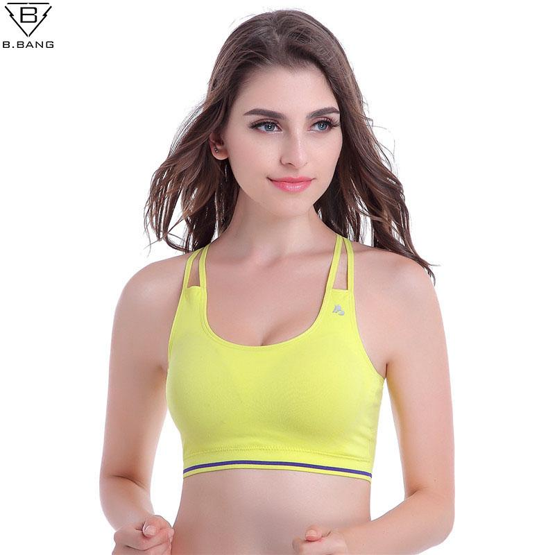 b625ad14bf 2019 B.BANG Women Sports Bra Strappy Bra For Gym Running Fitness Seamless  Bras Push Up With Padding Tank Tops From Simmer