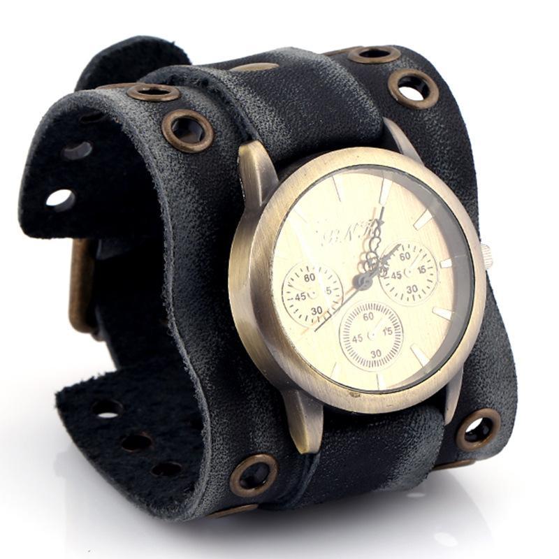 f23f3b28e7c2 Compre Joyas Euro Americanas Reloj Pulsera De Cuero Ancha Para Hombres  Personalidad Informal Pulsera Deportiva Hecha A Mano Vintage PK 54 A  36.19  Del ...