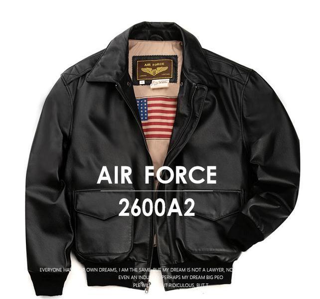 Chaqueta bomber de cuero de solapa clásica A2 para hombre Chaqueta de cuero de lujo Lane US Navy tamaño grande para 130-140 kg