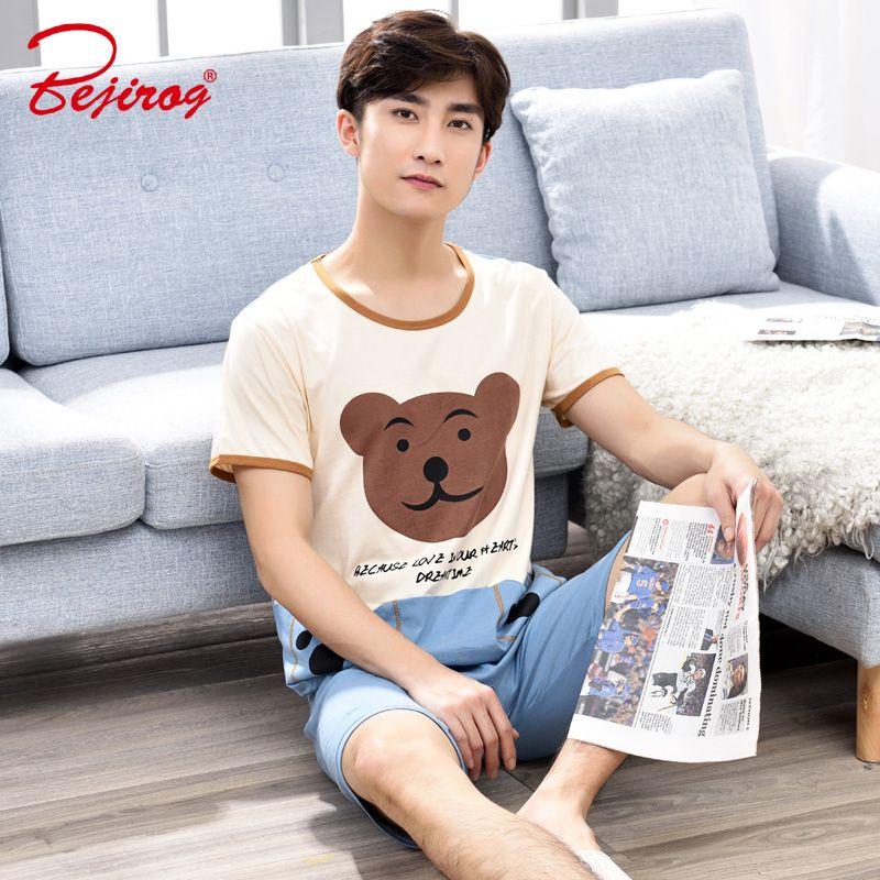 c6882a6aceb5 2019 Bejirog Cute Men Sleepwear Cotton Nightie Short Sleeved Pajama ...
