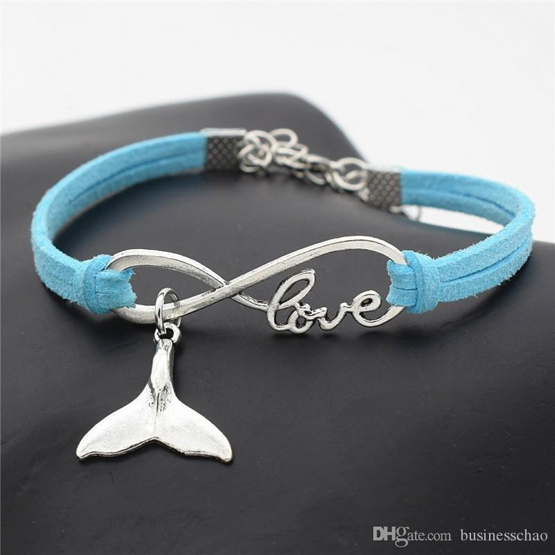AFSHOR New Personality Cute Birthday Gifts Antique Silver Sea Animal Whale Tail Charm Fashion Women Men Infinity Love Leather Bracelets