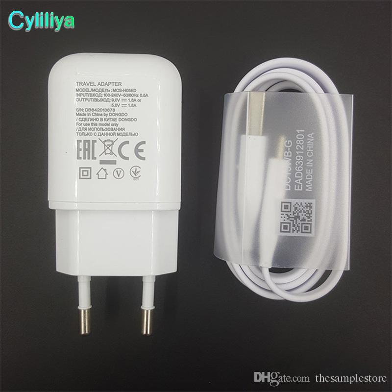100% Original Genuine LG Rápido de Carregamento + 1 M Tipo-C Adaptador USB Carregador de Parede de Viagem Cabo de Dados EUA Plug UE com o logotipo da LG