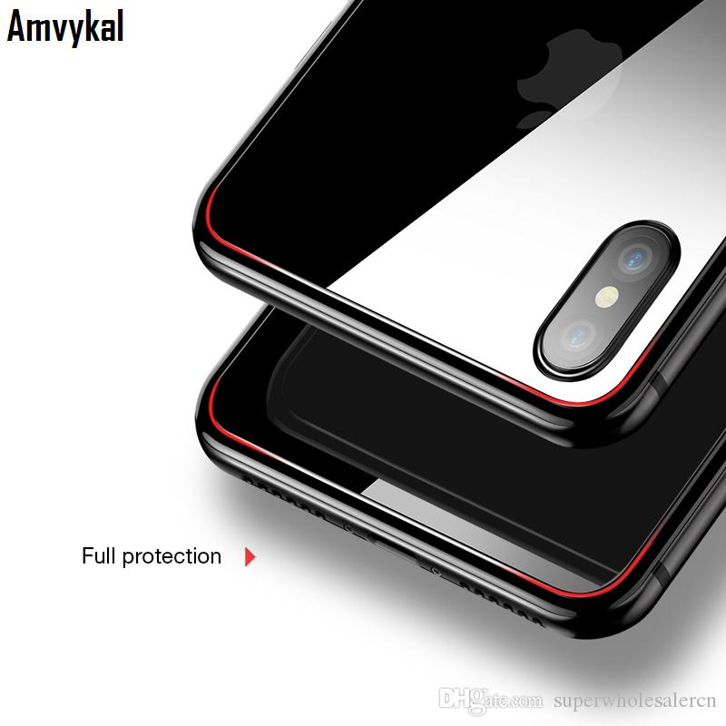 Amvykal For iPhone X 5 5s 6 6s 7 8 Plus Back Tempered Glass Screen Protector Back Film HD Clear Screen Protector