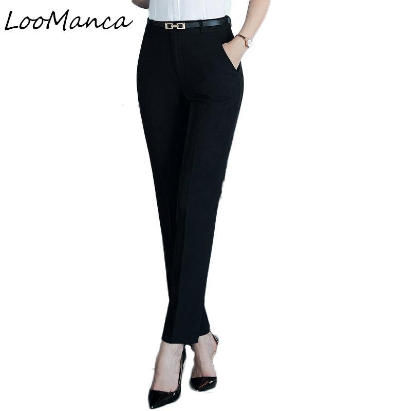 Compre Pantalones De Las Mujeres De Moda Más El Tamaño De Los Pantalones  Formales 2018 Nuevas Señoras De La Oficina De Corea Delgados Pantalones De  Traje OL ... cd84a2b78aeb