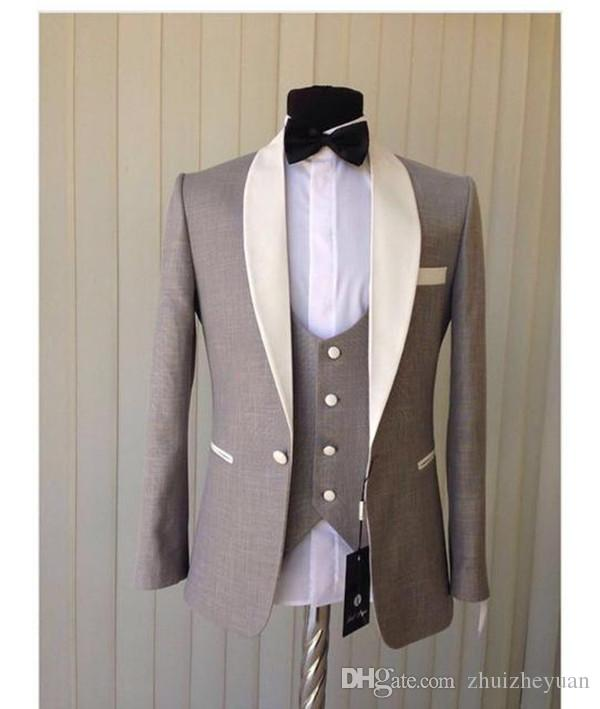 New Arrival Light Grey Groom Tuxedos Ivory Shawl Collar Blazer Groomsmen Wear Men Prom Party Suit Wedding Suits Jacket+Pants+Vest+tie