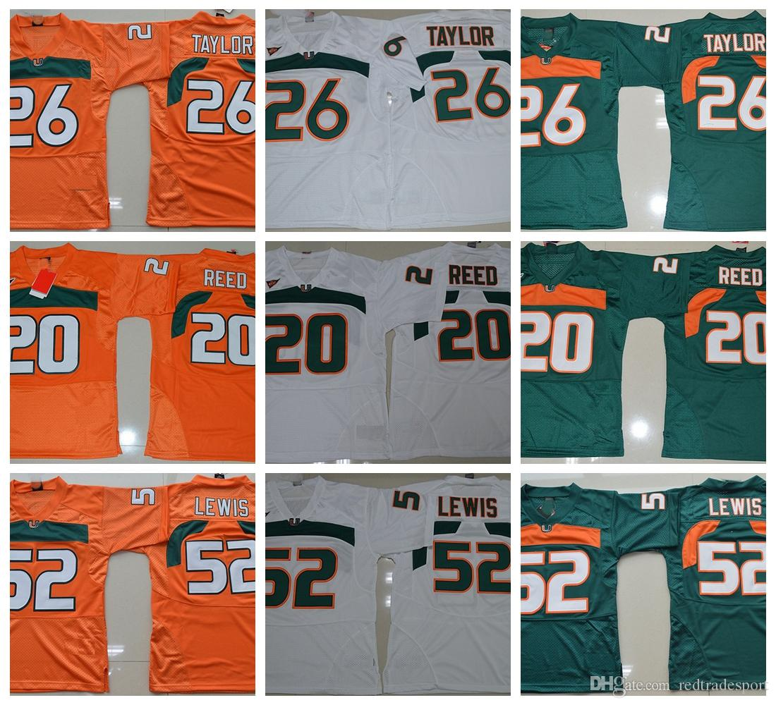 huge discount c2ed2 dc770 Vintage Miami Hurricanes College Football Jerseys Green 26 Sean Taylor 52  Ray Lewis R.Lewis 20 Ed Reed University Football Shirts Cheap