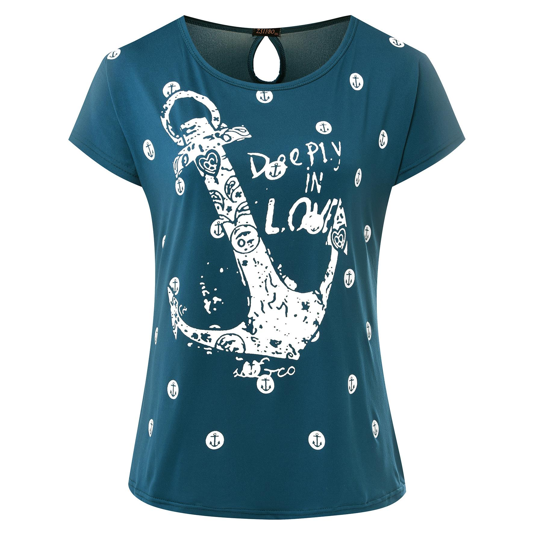 10 Styles Boat Anchors Printed Women Crew Neck Loose Casual T Shirt Letter Print Short Sleeve Top Tees Size S-2XL