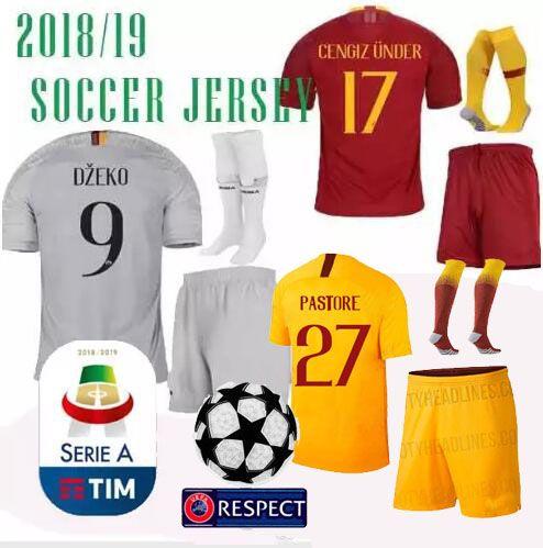 c05a29a9d 2019 ROMA THIRD AWAY Champions League Soccer Jerseys 18 19 Men PASTORE Kit  DZEKO PELLEGRINI EL SHAARAWY FOOTBALL JERSEY SHIRT Shorts Set From  Victorstore201 ...