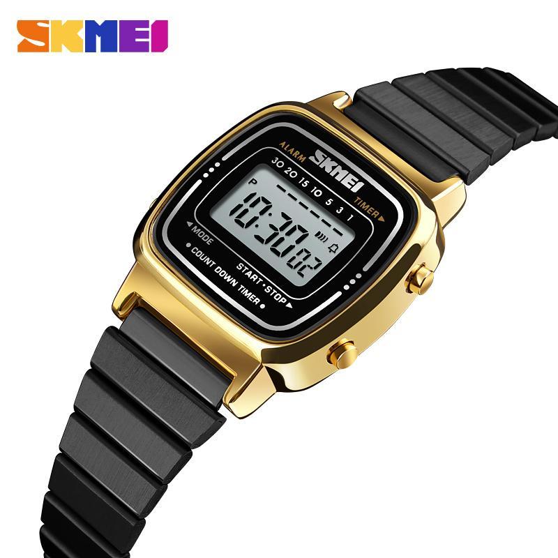 649da53fdc0 Compre SKMEI Relógio Digital De Ouro Das Mulheres Dos Homens Relógios De  Luxo Relógios De Pulso De Ouro De Aço Inoxidável Relógio Masculino Feminino  Relogio ...