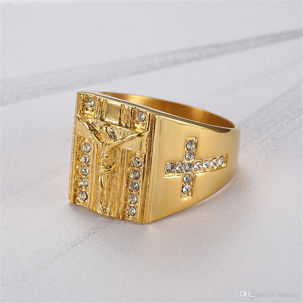 골드 가득 티타늄 예수님 크로스 반지 클래식 종교 반지 남자 보석