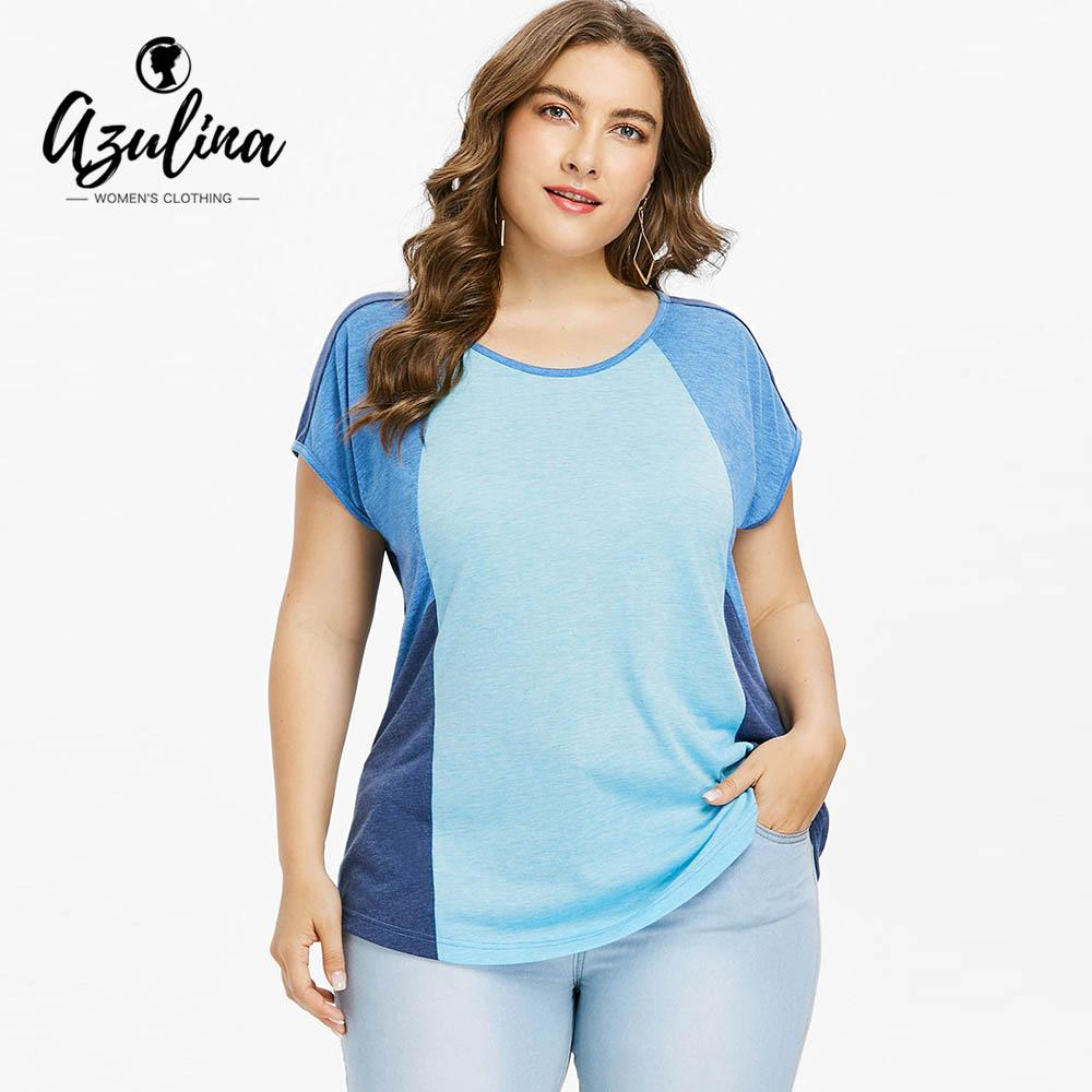 bd5019eac9b44d AZULINA Plus Size Color Block Cap Sleeve T Shirt Summer O Neck Short Sleeve T  Shirt Ladies Tops Casual Shirt Large Size Clothing Rude T Shirts Shirt  Online ...