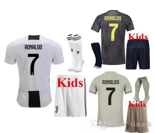 946981848 2018 2019 New Kids Kit Juventus Soccer Jerseys 18 19 JUVE BLACK WHITE  DYBALA MANDZUKIC BUFFON CR7 Child Soccer Jersey Juventus JUVE BUFFON Online  with ...