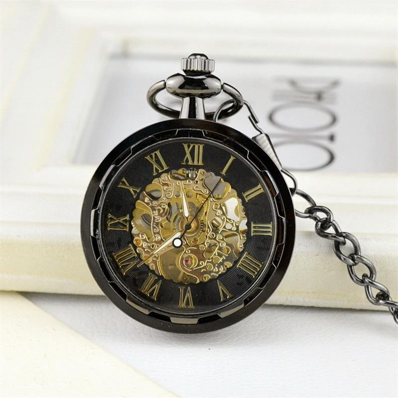 Wholesale Men perspective window tungsten steel hollow mechanical watches mechanical pocket watch PW131