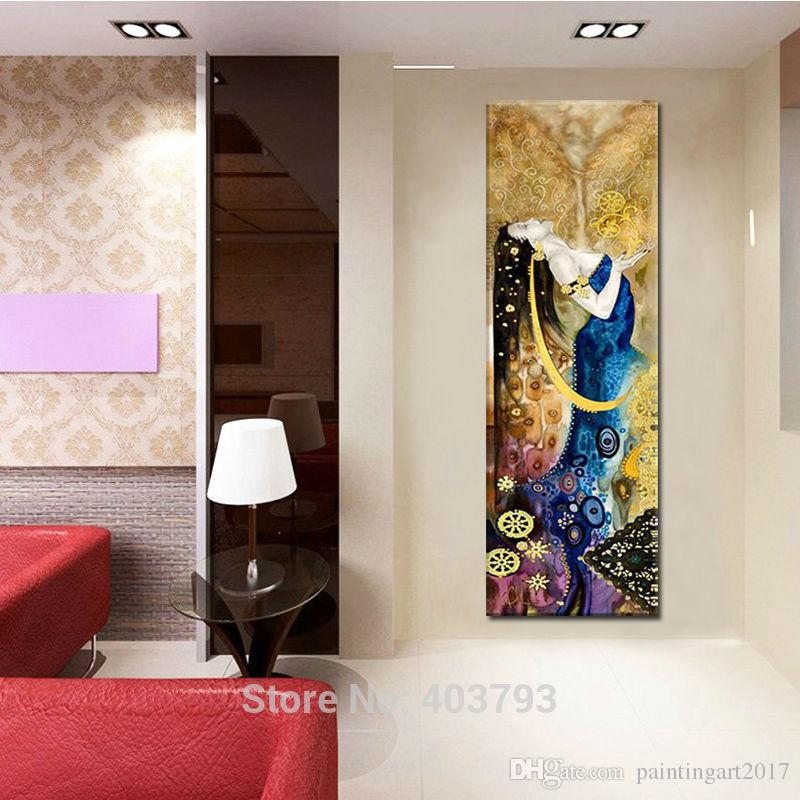 Handmade Oil Painting on Canvas Portraits Art for Living Room Decor Golden Background Abstract Character Girl Picture No Frame