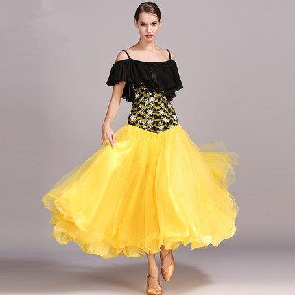 094e767247ca 2019 Standard Ballroom Dance Competition Dresses Tulle Dress Big Swing  Costumes For Women Tango/Waltz Ruffle Dresses 2018 New Modern Dance Dress  From ...
