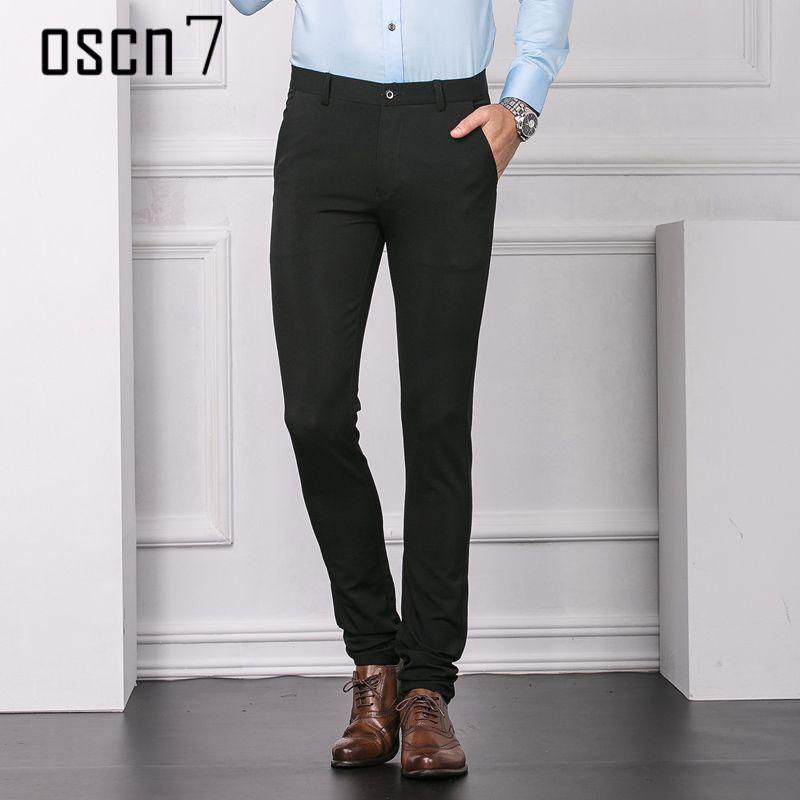 2018 Oscn7 Solid Slim Fit Dress Pants Men Business 2017 Mens Pants