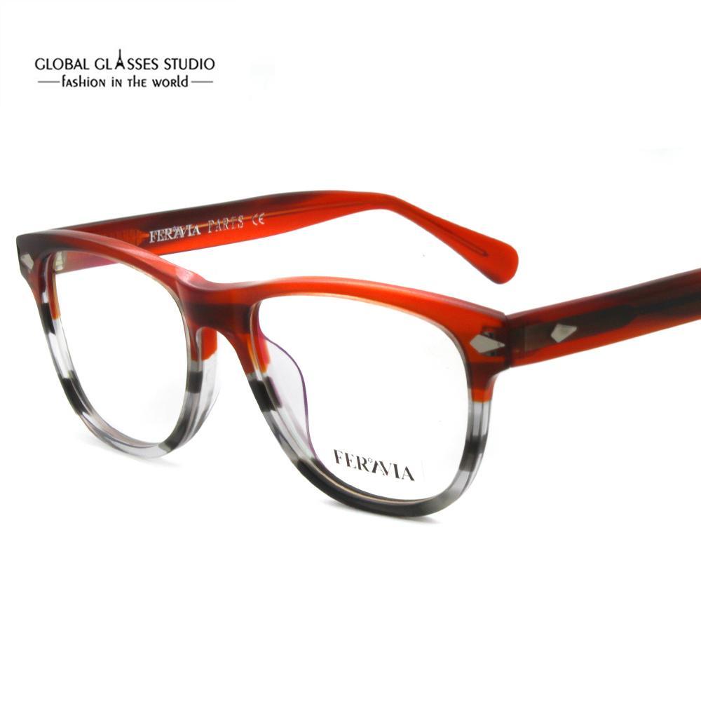 cf9bc4b22 Compre Design De Marca Francesa Óculos De Acetato De Armação Grande Aro  Rebite Acetato De Óculos Mulheres Homens Rua Óculos 618g De Lixinglass, ...