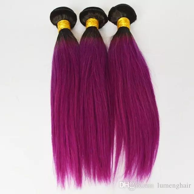 Pre-colored One Pack Ombre Human Peruvian Straight Hair Weave T1B/Pink Ombre Hair 3 Bundles Non-Remy Hair