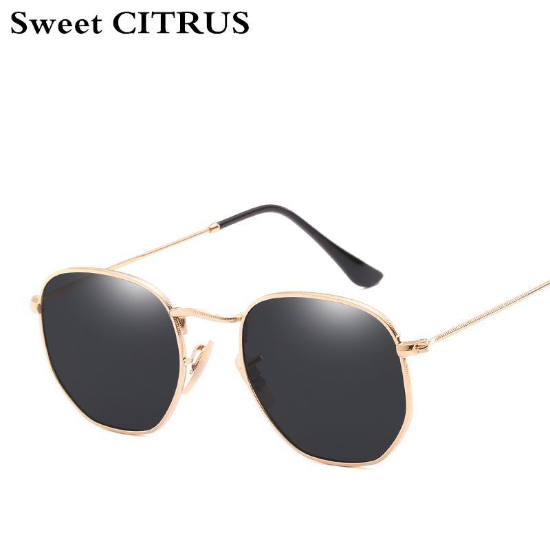 2ca2aaa6bb Sweet CITRUS Hexagonal Aviation Coating Mirror Flat Lens Sunglasses Men  Brand Designer Vintage Pink Driving Sun Glasses Women Baseball Sunglasses  John ...