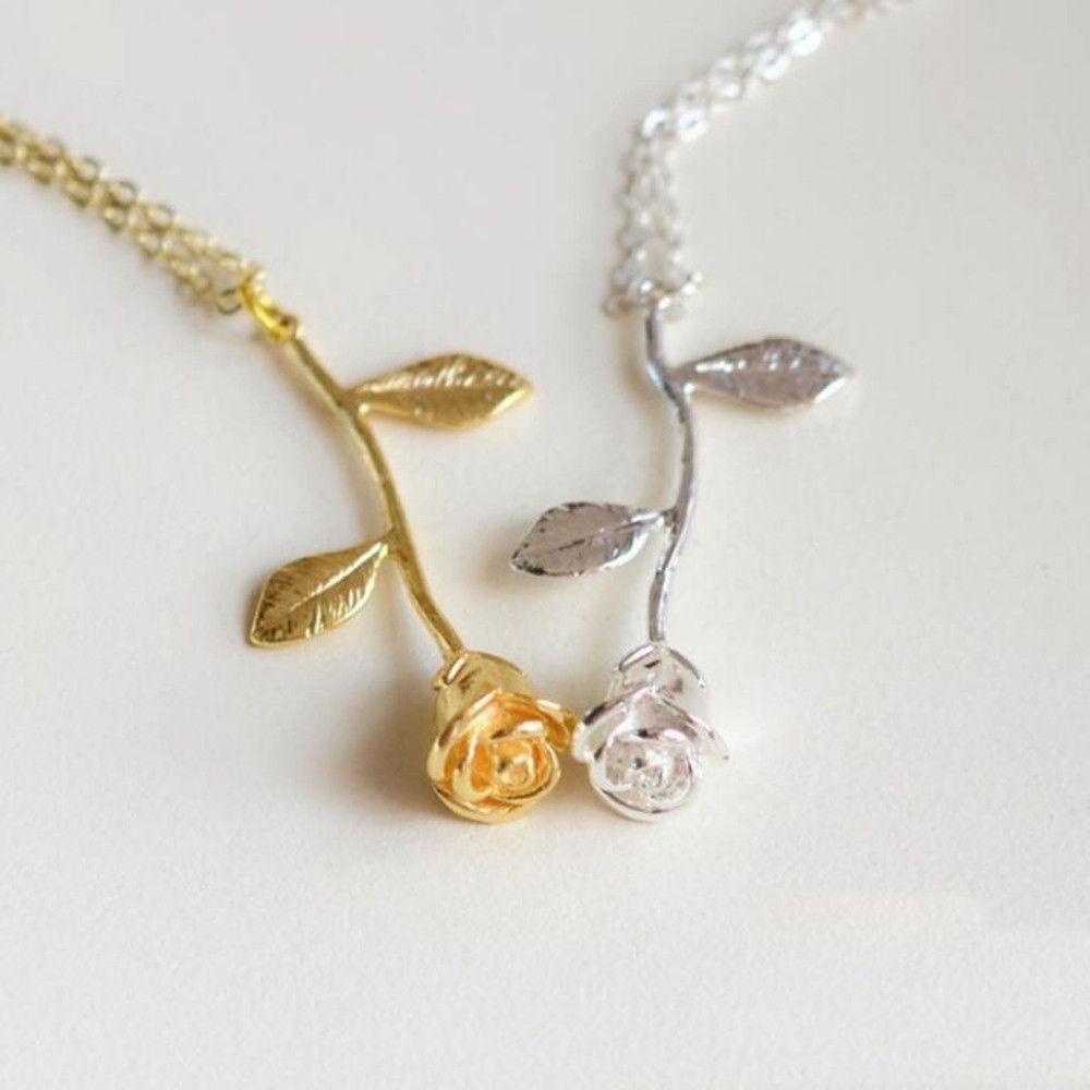 Acheter Or Rose Fleur Declaration Collier Femmes Ras Du Cou Rose Or