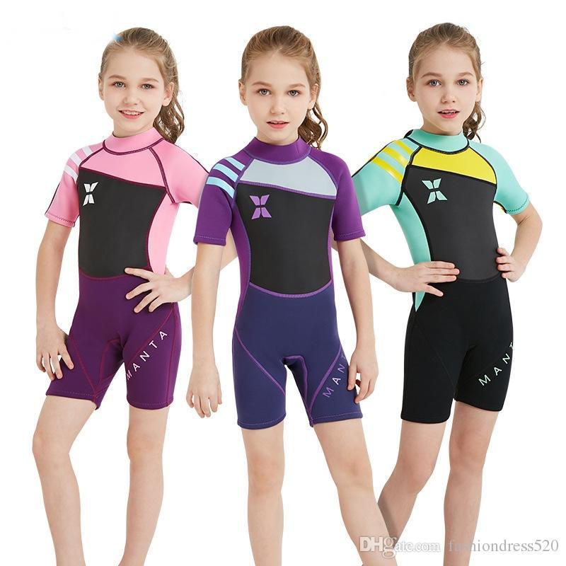 5ea7add0ec 2019 Child Boy Girl 2.5mm Neoprene One Piece Wetsuit Spearfishing Swimsuit  Snorkel Dive Surf Swim Suit Swimwear Long Sleeve Beach From  Fashiondress520