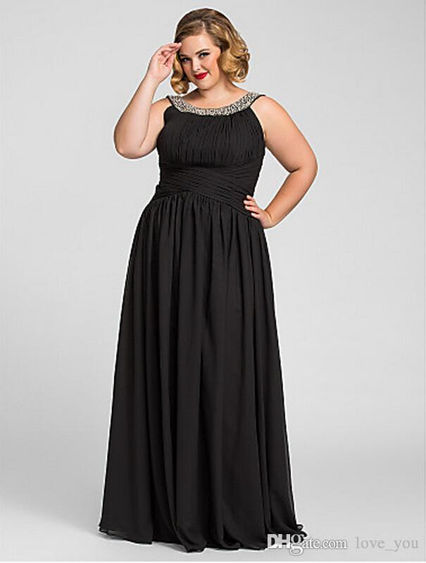 Black Plus Size A-line Jewel Floor-length Chiffon Evening Prom Dress Online  with  34.29 Piece on Love you s Store  c209b2841d6a