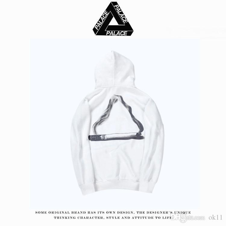 f3b7b7d0cd33 2019 Tide Brand PALACE 17SS SKATEBOARDS TRI SMOKE Triangular Smoke Ring  Printed Men And Women Cotton Hooded Sweater From Ok11